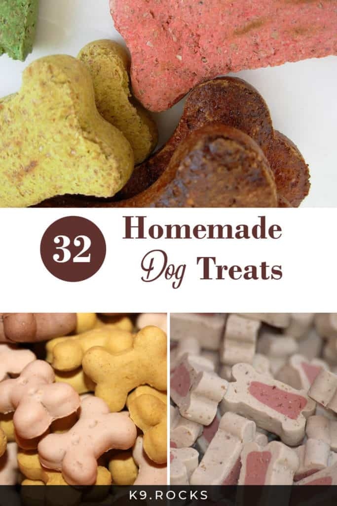 have 32 different home made dog treats made by different owners from different dog blogs